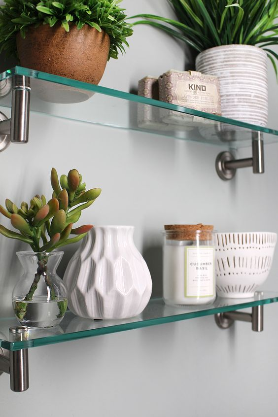 Custom Glass Shelves.